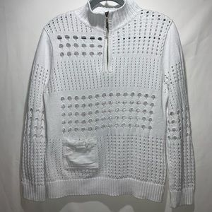 PBJ Blues White Open Knit Pullover 1/4 Zip Size L